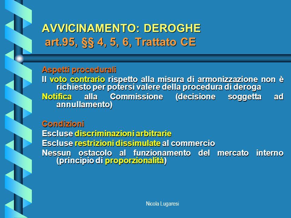 Nicola Lugaresi AVVICINAMENTO: DEROGHE art.95, §§ 4, 5, 6, Trattato CE Aspetti procedurali Il voto contrario rispetto alla misura di armonizzazione no