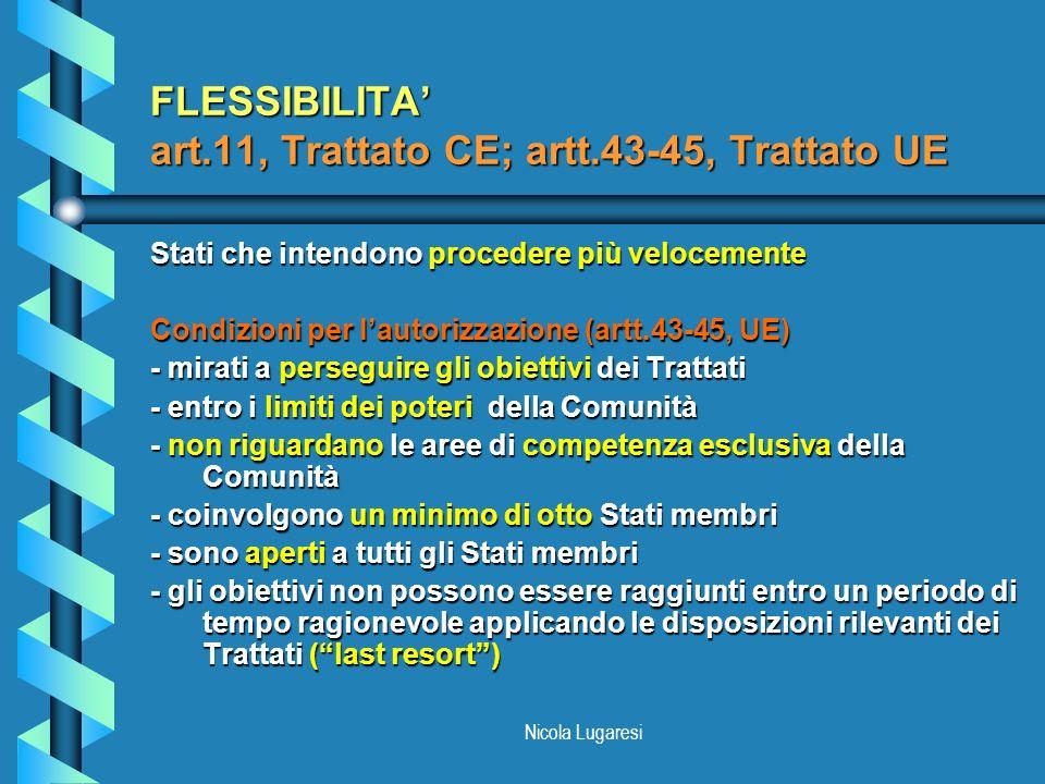 Nicola Lugaresi FLESSIBILITA art.11, Trattato CE; artt.43-45, Trattato UE Stati che intendono procedere più velocemente Condizioni per lautorizzazione