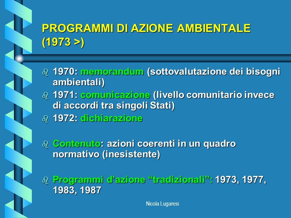 Nicola Lugaresi PROGRAMMI DI AZIONE AMBIENTALE (1973 >) b 1970: memorandum (sottovalutazione dei bisogni ambientali) b 1971: comunicazione (livello co