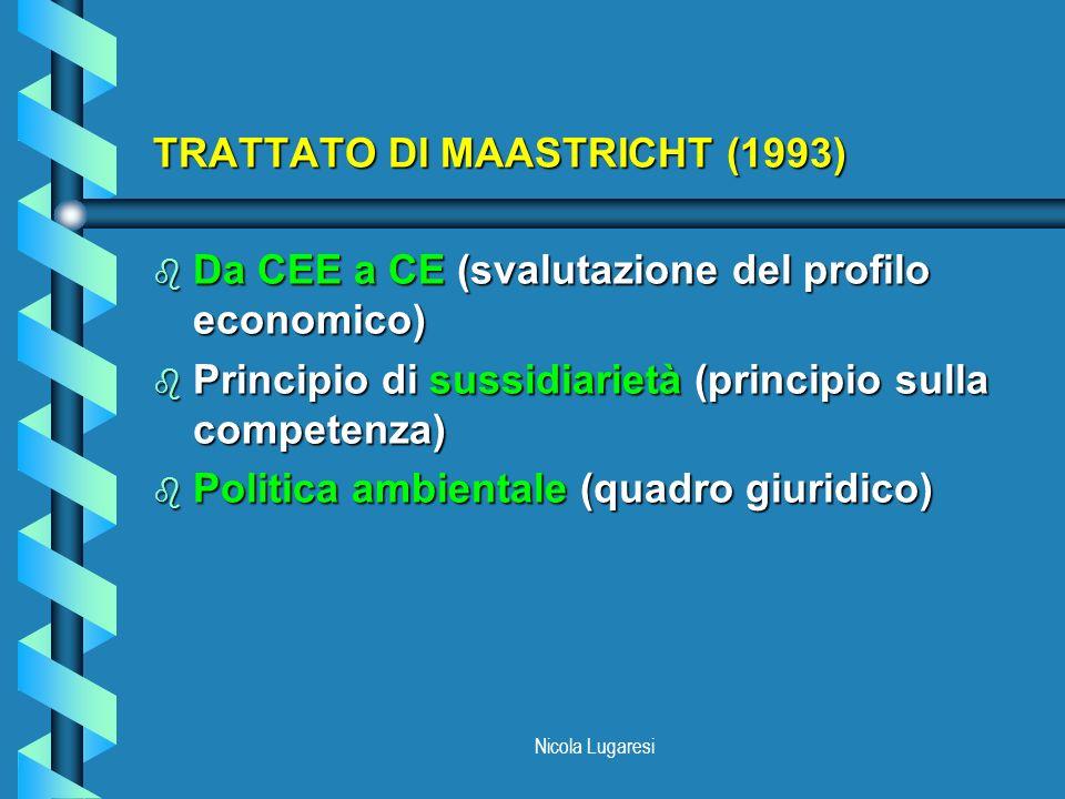 Nicola Lugaresi V PROGRAMMA DAZIONE AMBIENTALE (1993) b Verso la sostenibilità b Approccio orizzontale: considerazione di tutte le cause di inquinamento b Approccio attivo b Cambiamento nei comportamenti sociali b Nuovi strumenti ambientali