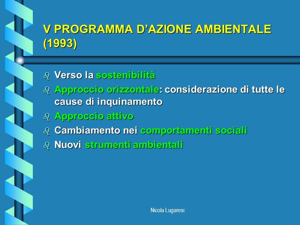 Nicola Lugaresi DECISIONE 2179/98/CE b Integrazione delle tematiche ambientali nelle politiche comunitarie b Settori: agricoltura, trasporti, energia, industria, turismo b Allargamento della gamma di strumenti giuridici