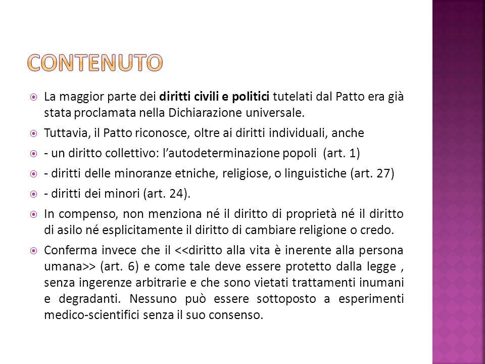 La maggior parte dei diritti civili e politici tutelati dal Patto era già stata proclamata nella Dichiarazione universale.
