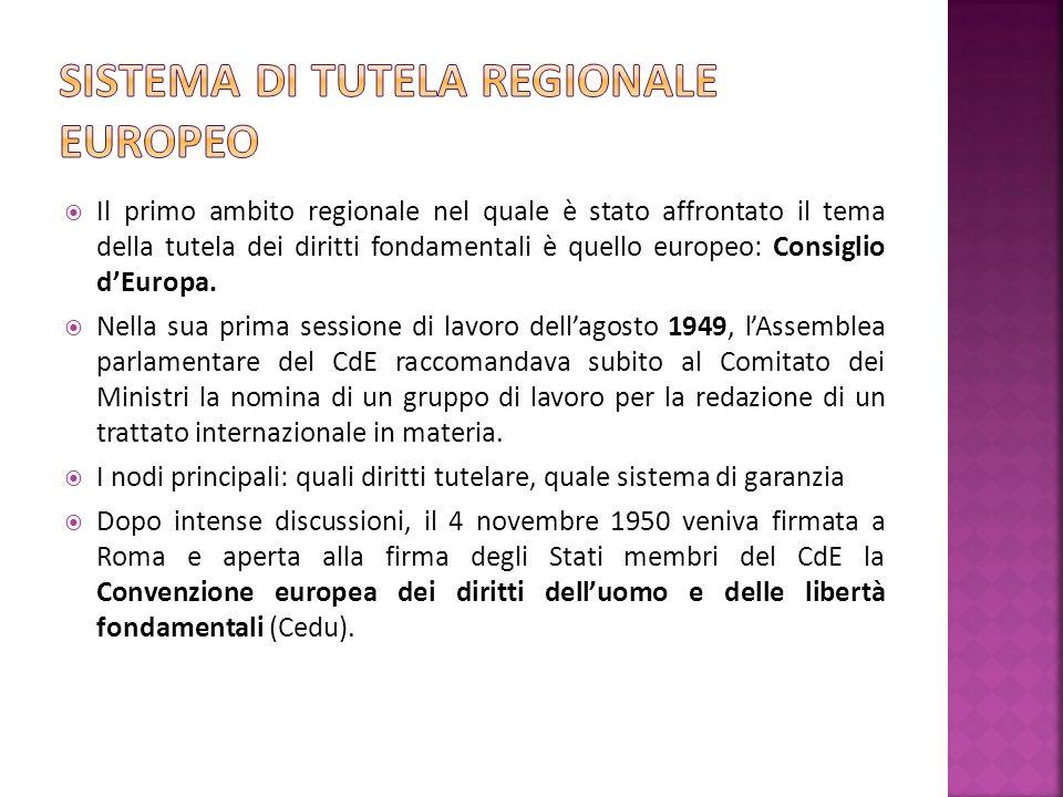 Il primo ambito regionale nel quale è stato affrontato il tema della tutela dei diritti fondamentali è quello europeo: Consiglio dEuropa.