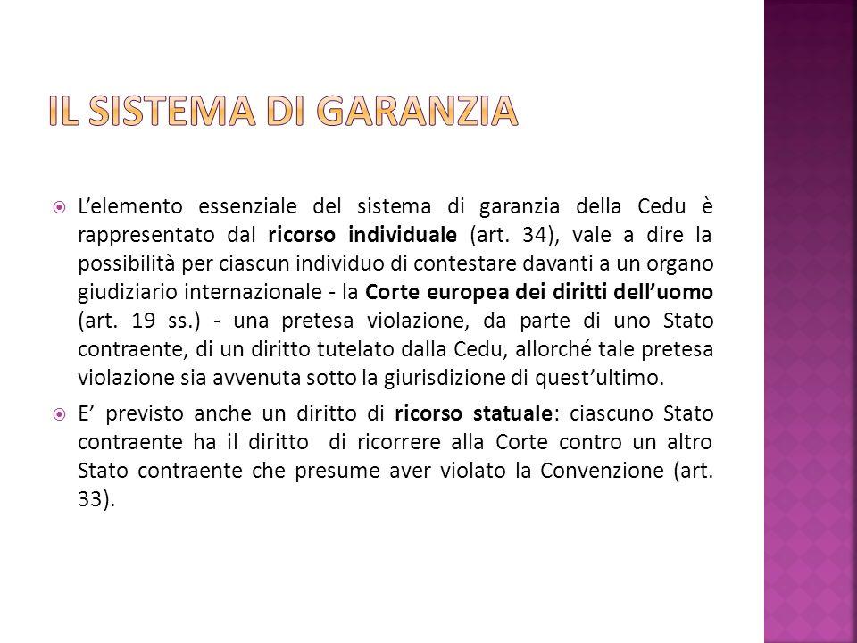 Lelemento essenziale del sistema di garanzia della Cedu è rappresentato dal ricorso individuale (art.