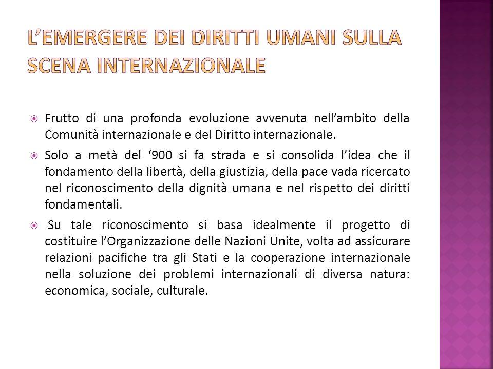 Frutto di una profonda evoluzione avvenuta nellambito della Comunità internazionale e del Diritto internazionale.