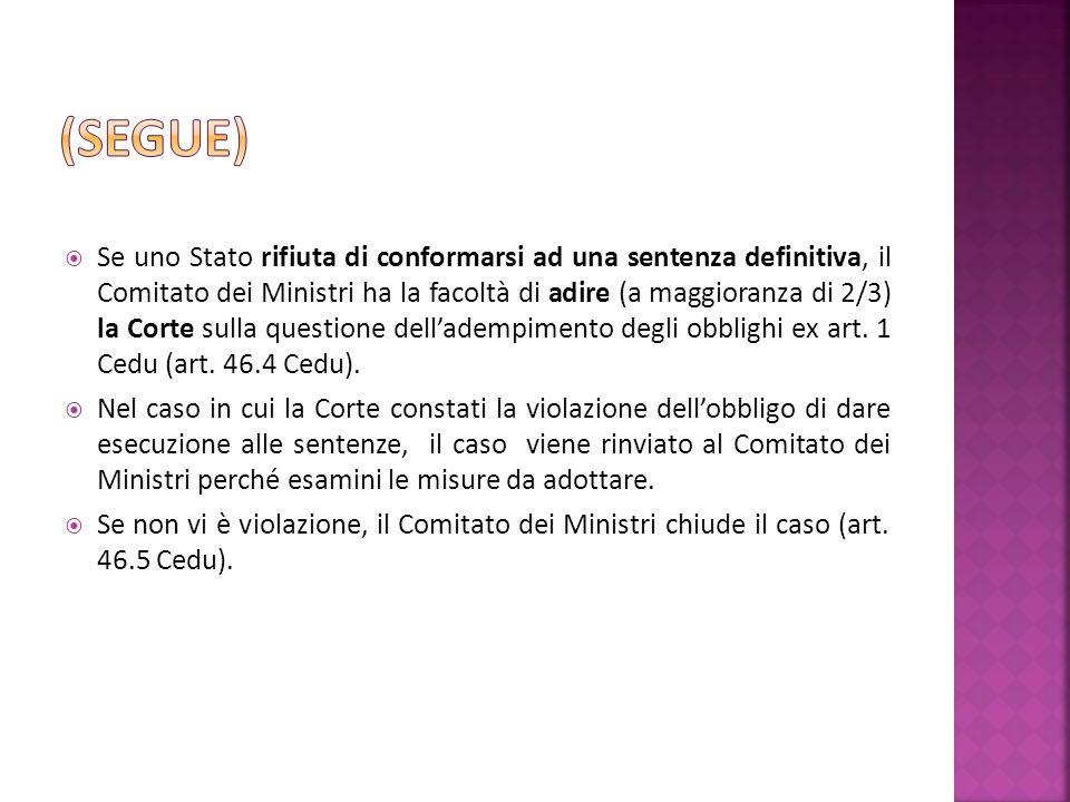 Se uno Stato rifiuta di conformarsi ad una sentenza definitiva, il Comitato dei Ministri ha la facoltà di adire (a maggioranza di 2/3) la Corte sulla questione delladempimento degli obblighi ex art.