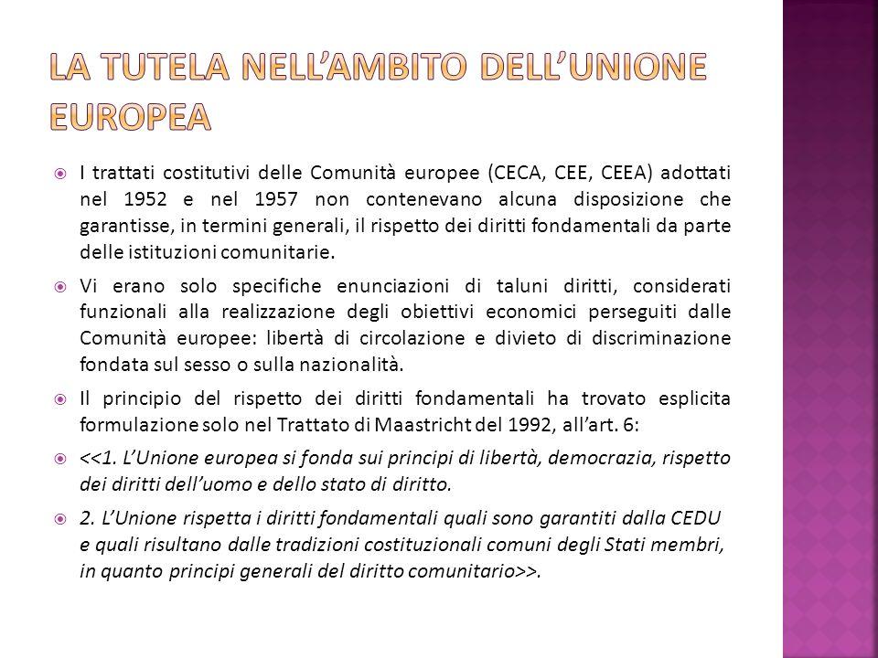 I trattati costitutivi delle Comunità europee (CECA, CEE, CEEA) adottati nel 1952 e nel 1957 non contenevano alcuna disposizione che garantisse, in termini generali, il rispetto dei diritti fondamentali da parte delle istituzioni comunitarie.