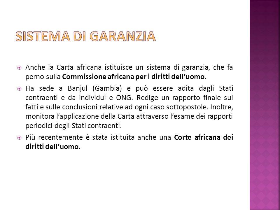 Anche la Carta africana istituisce un sistema di garanzia, che fa perno sulla Commissione africana per i diritti delluomo.