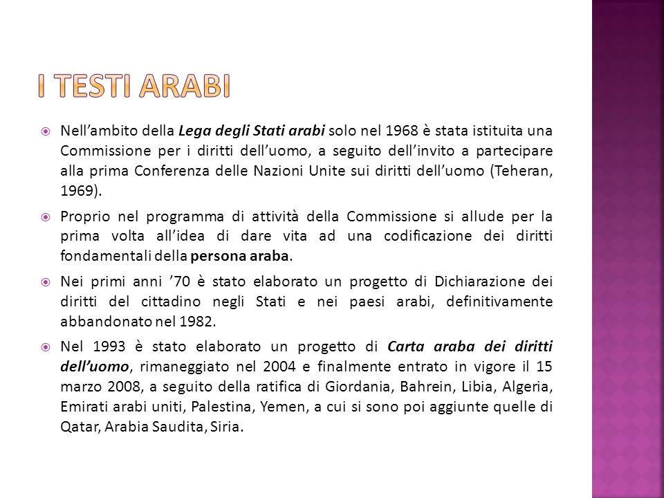 Nellambito della Lega degli Stati arabi solo nel 1968 è stata istituita una Commissione per i diritti delluomo, a seguito dellinvito a partecipare alla prima Conferenza delle Nazioni Unite sui diritti delluomo (Teheran, 1969).