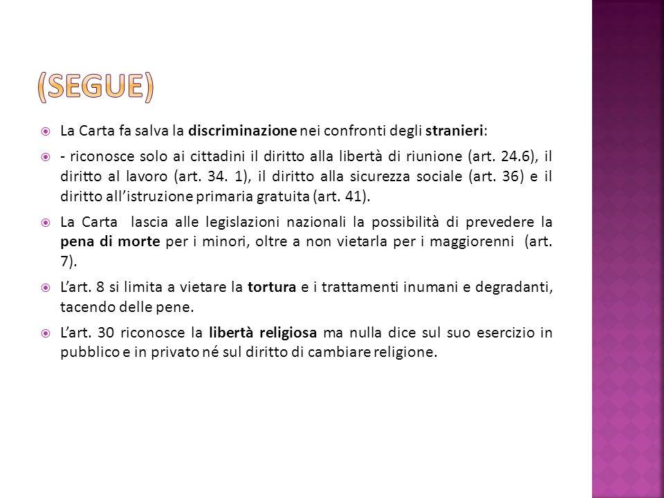 La Carta fa salva la discriminazione nei confronti degli stranieri: - riconosce solo ai cittadini il diritto alla libertà di riunione (art.
