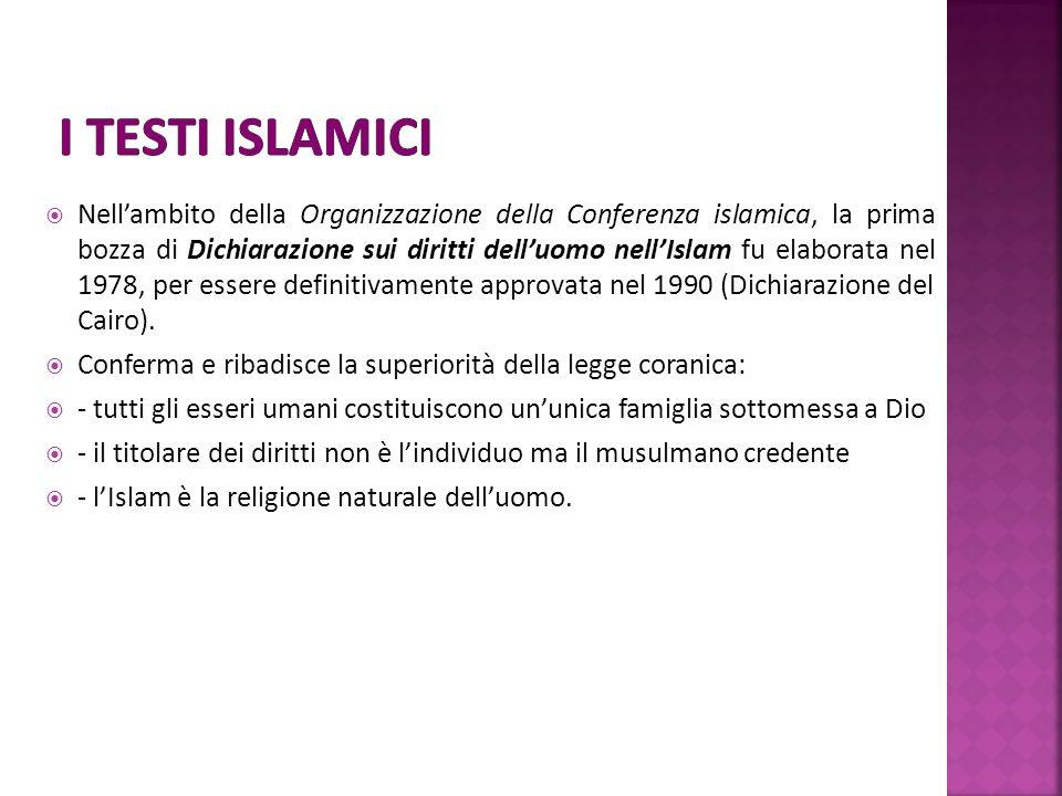 Nellambito della Organizzazione della Conferenza islamica, la prima bozza di Dichiarazione sui diritti delluomo nellIslam fu elaborata nel 1978, per essere definitivamente approvata nel 1990 (Dichiarazione del Cairo).