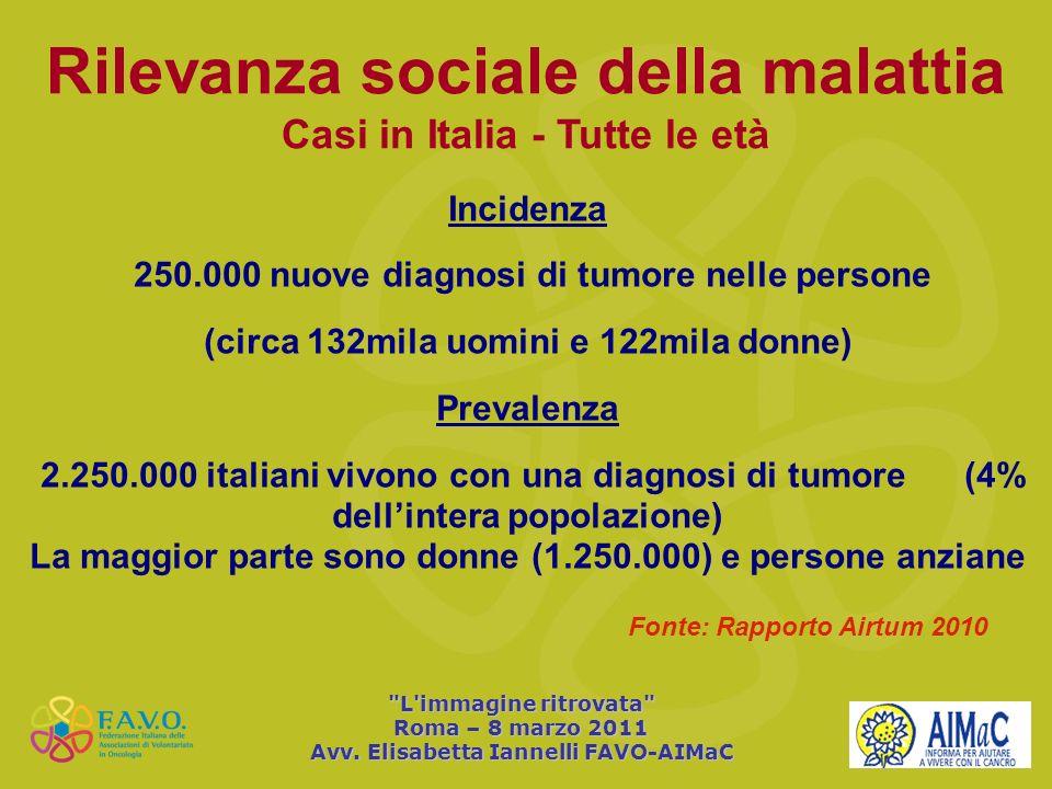 Rilevanza sociale della malattia Casi in Italia - Tutte le età