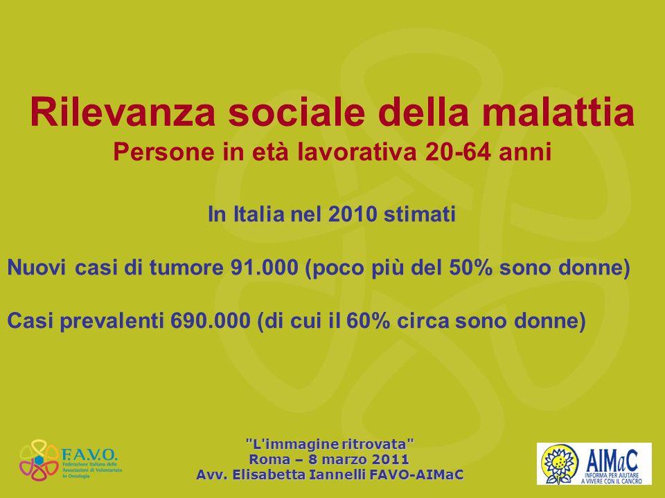 Rilevanza sociale della malattia Persone in età lavorativa 20-64 anni In Italia nel 2010 stimati Nuovi casi di tumore 91.000 (poco più del 50% sono do