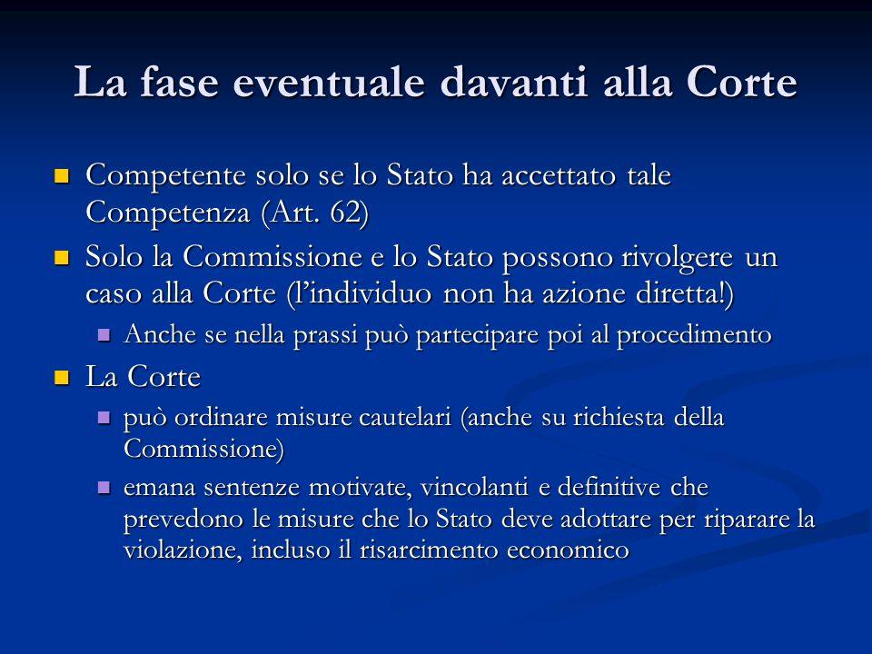 La fase eventuale davanti alla Corte Competente solo se lo Stato ha accettato tale Competenza (Art. 62) Competente solo se lo Stato ha accettato tale