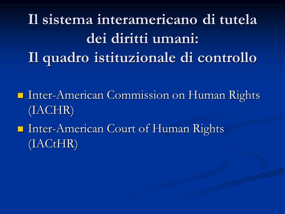 Il sistema interamericano di tutela dei diritti umani: Il quadro istituzionale di controllo Inter-American Commission on Human Rights (IACHR) Inter-Am
