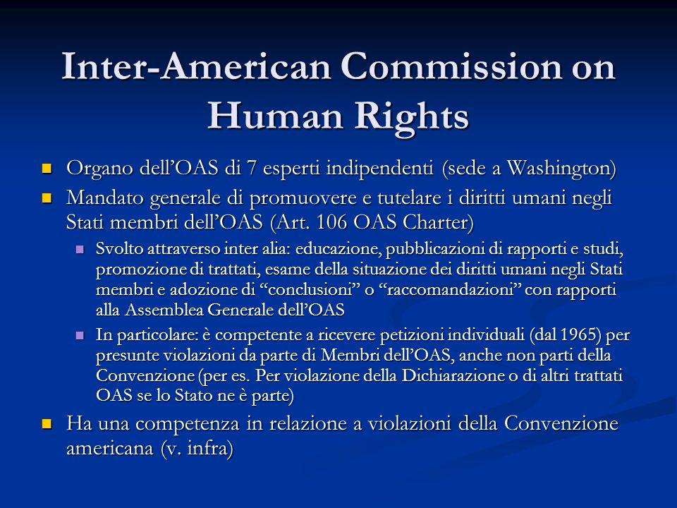 Inter-American Commission on Human Rights Organo dellOAS di 7 esperti indipendenti (sede a Washington) Organo dellOAS di 7 esperti indipendenti (sede