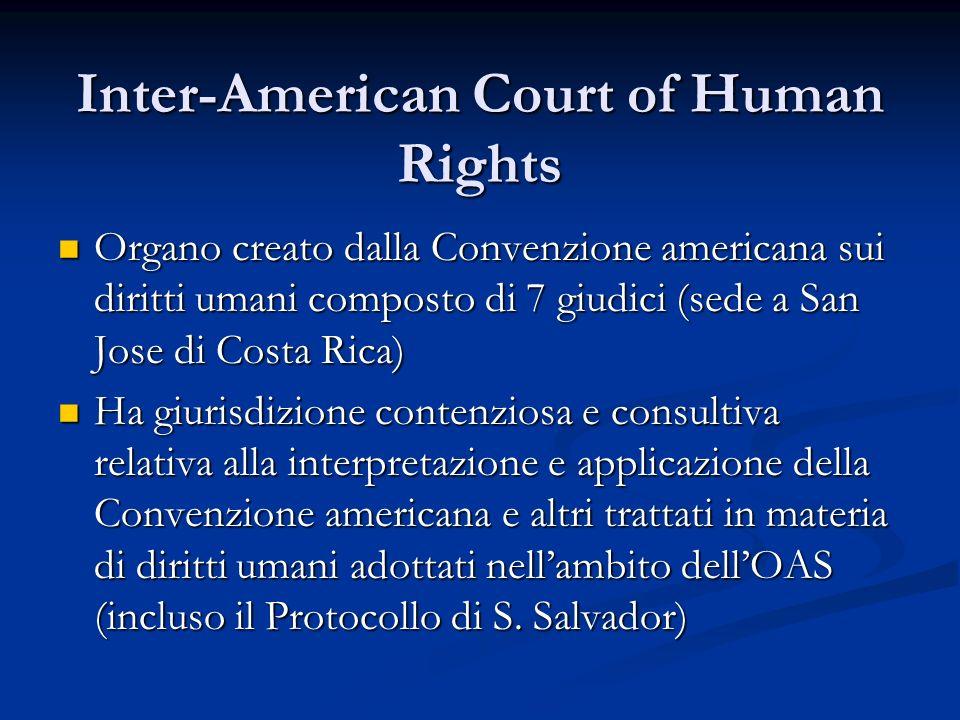 Inter-American Court of Human Rights Organo creato dalla Convenzione americana sui diritti umani composto di 7 giudici (sede a San Jose di Costa Rica)