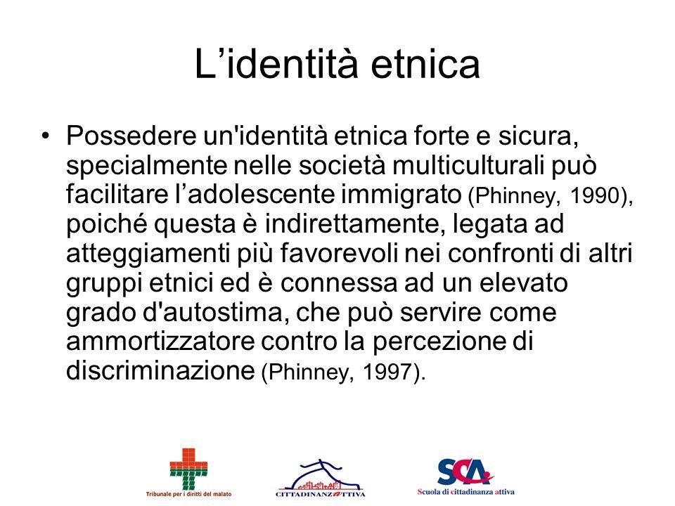 Lidentità etnica Possedere un'identità etnica forte e sicura, specialmente nelle società multiculturali può facilitare ladolescente immigrato (Phinney