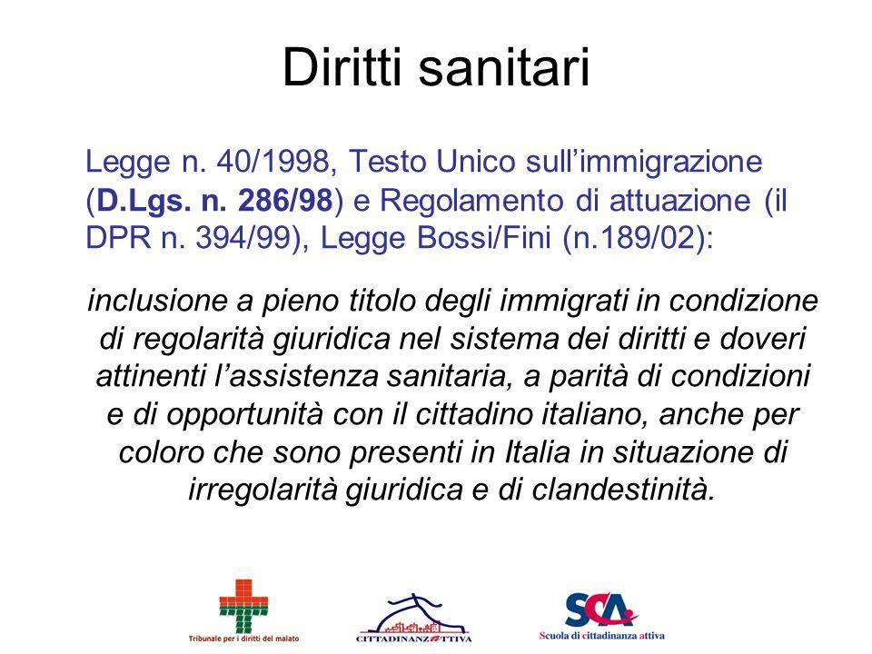 Diritti sanitari Legge n. 40/1998, Testo Unico sullimmigrazione (D.Lgs. n. 286/98) e Regolamento di attuazione (il DPR n. 394/99), Legge Bossi/Fini (n