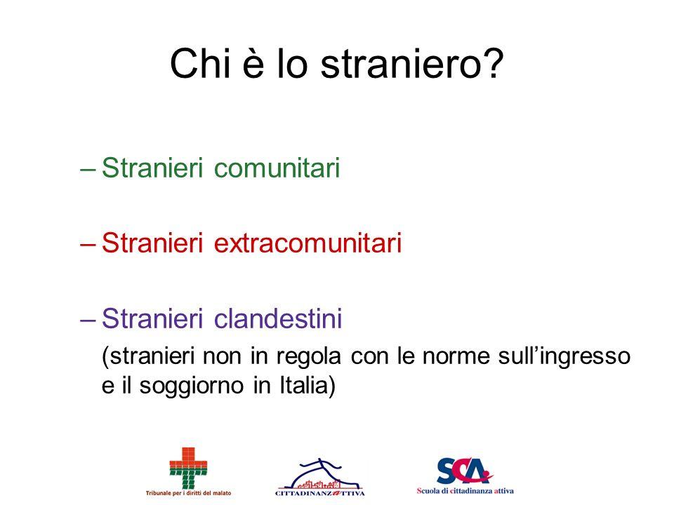 Chi è lo straniero? –Stranieri comunitari –Stranieri extracomunitari –Stranieri clandestini (stranieri non in regola con le norme sullingresso e il so
