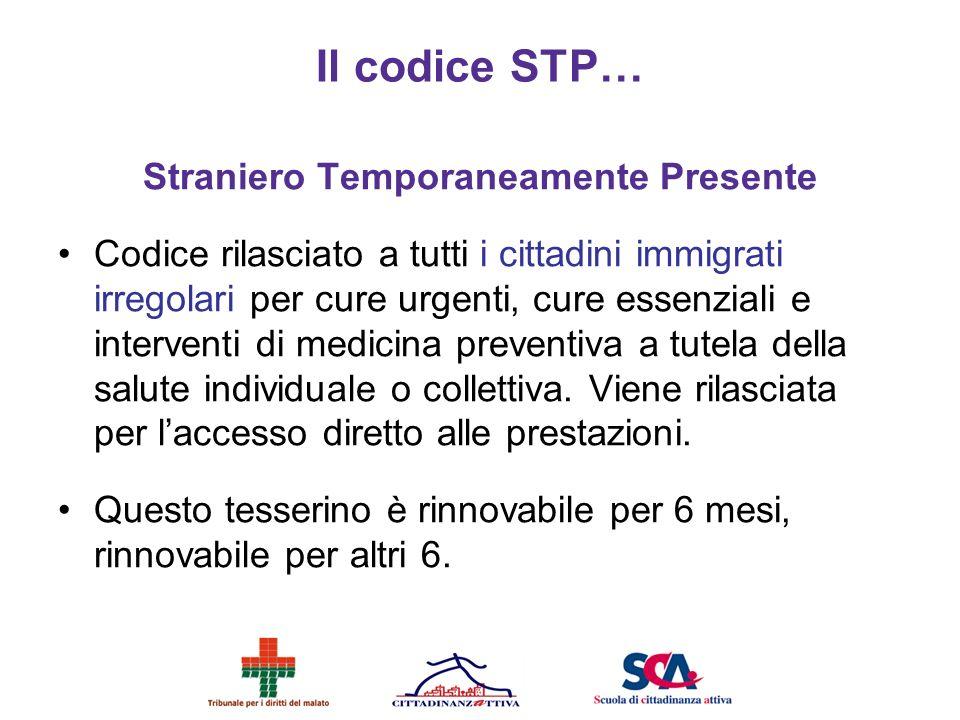 Il codice STP… Straniero Temporaneamente Presente Codice rilasciato a tutti i cittadini immigrati irregolari per cure urgenti, cure essenziali e inter