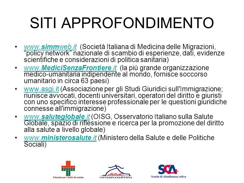 SITI APPROFONDIMENTO www.simmweb.it (Società Italiana di Medicina delle Migrazioni, policy network nazionale di scambio di esperienze, dati, evidenze