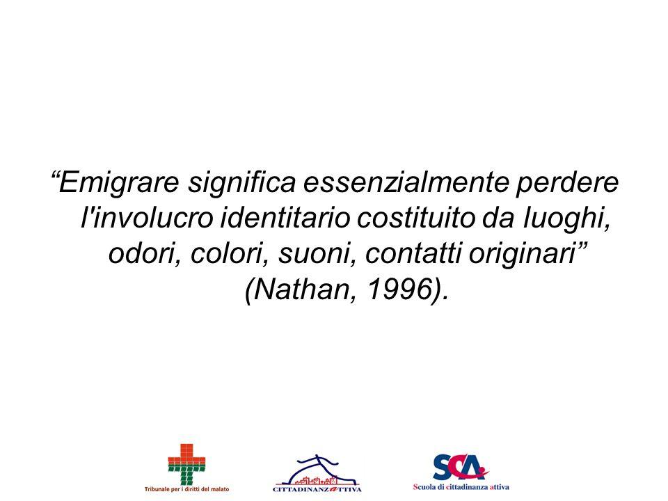 Emigrare significa essenzialmente perdere l'involucro identitario costituito da luoghi, odori, colori, suoni, contatti originari (Nathan, 1996).