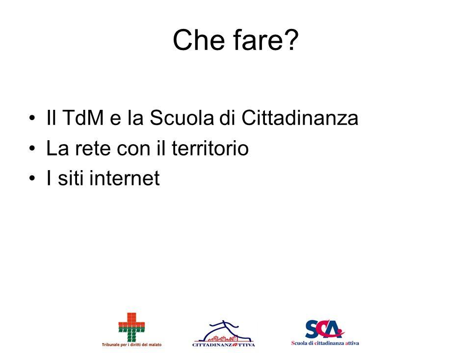 Che fare? Il TdM e la Scuola di Cittadinanza La rete con il territorio I siti internet