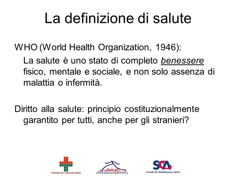 La definizione di salute WHO (World Health Organization, 1946): La salute è uno stato di completo benessere fisico, mentale e sociale, e non solo asse