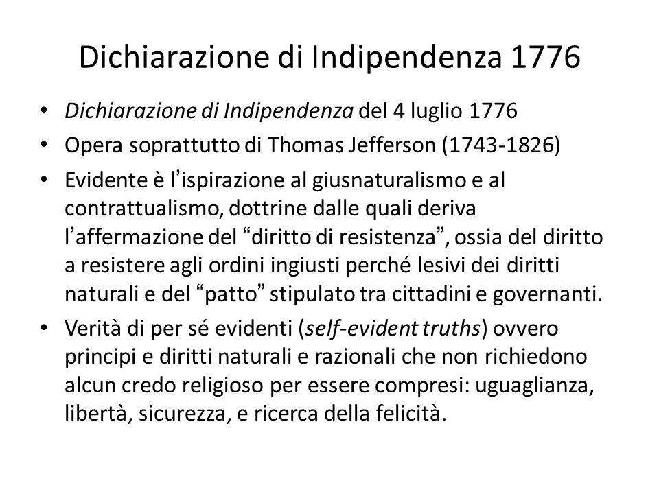 Dichiarazione di Indipendenza 1776 Dichiarazione di Indipendenza del 4 luglio 1776 Opera soprattutto di Thomas Jefferson (1743-1826) Evidente è lispir