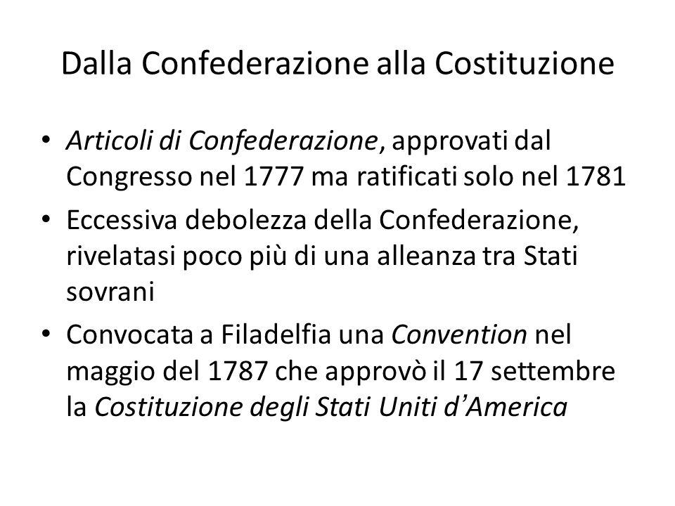 Dalla Confederazione alla Costituzione Articoli di Confederazione, approvati dal Congresso nel 1777 ma ratificati solo nel 1781 Eccessiva debolezza de