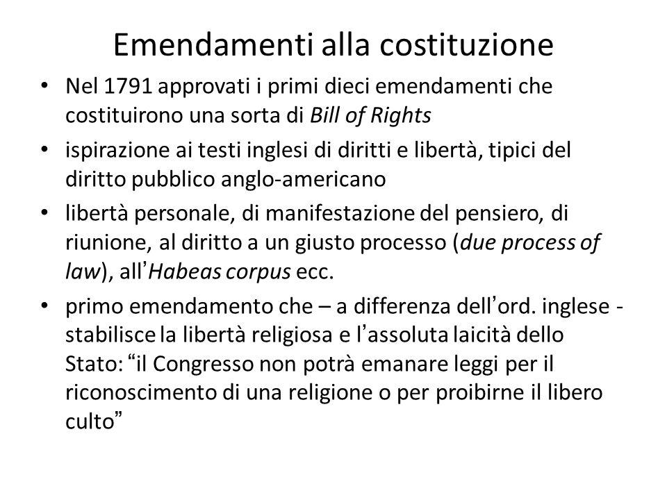 Emendamenti alla costituzione Nel 1791 approvati i primi dieci emendamenti che costituirono una sorta di Bill of Rights ispirazione ai testi inglesi d