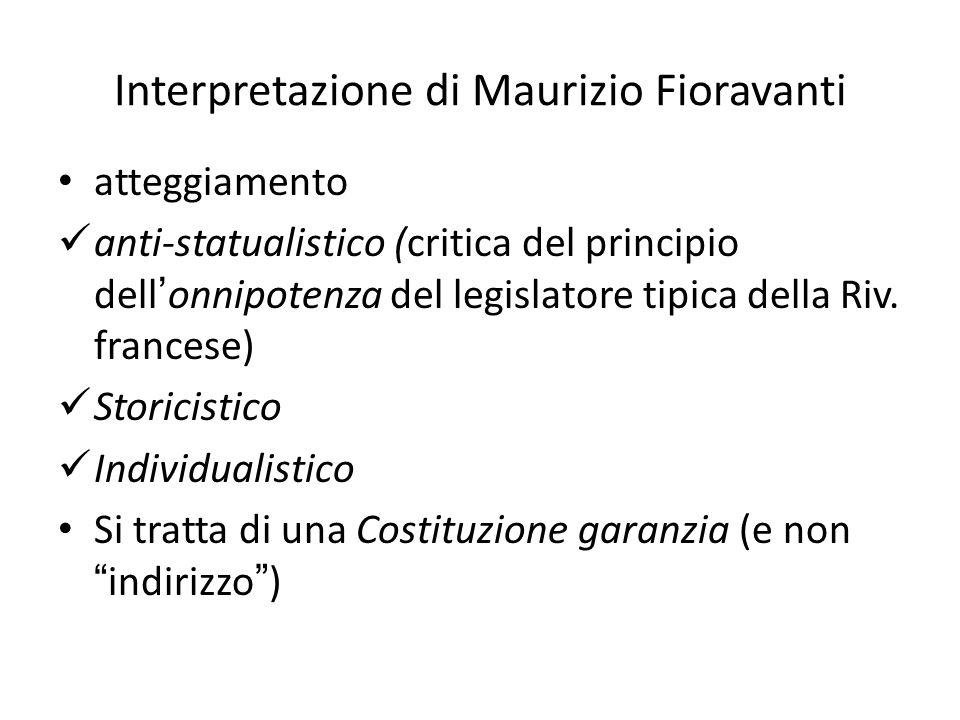 Interpretazione di Maurizio Fioravanti atteggiamento anti-statualistico (critica del principio dellonnipotenza del legislatore tipica della Riv. franc