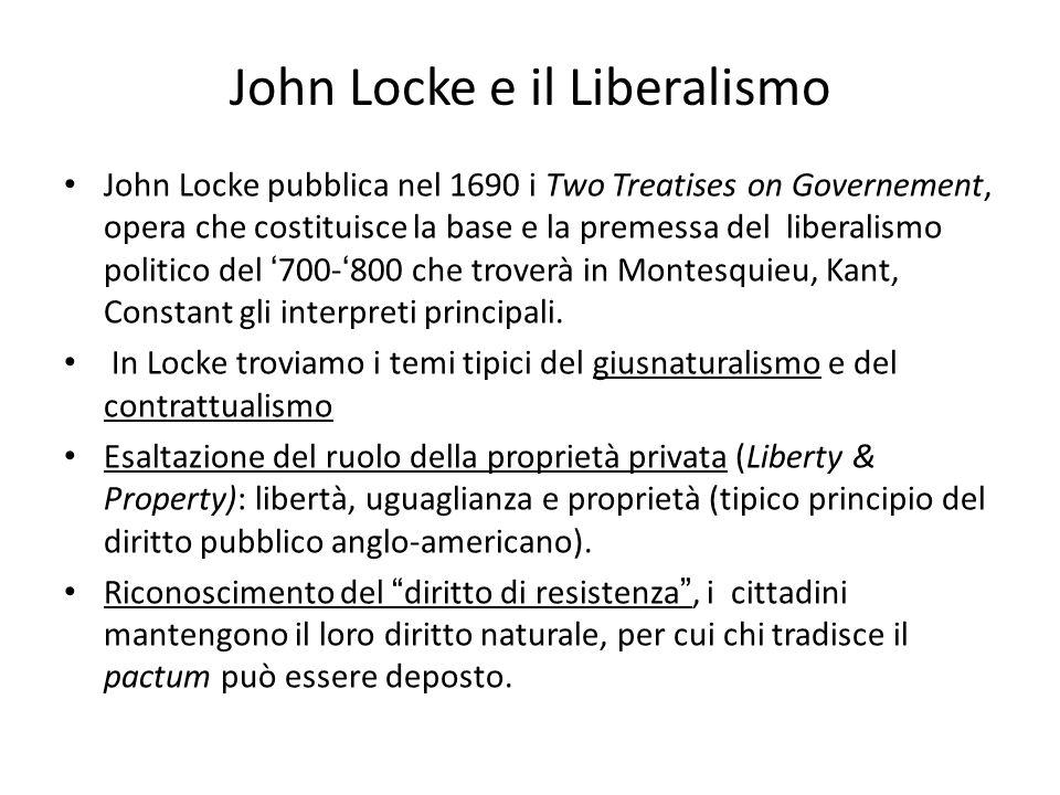 John Locke e il Liberalismo John Locke pubblica nel 1690 i Two Treatises on Governement, opera che costituisce la base e la premessa del liberalismo p