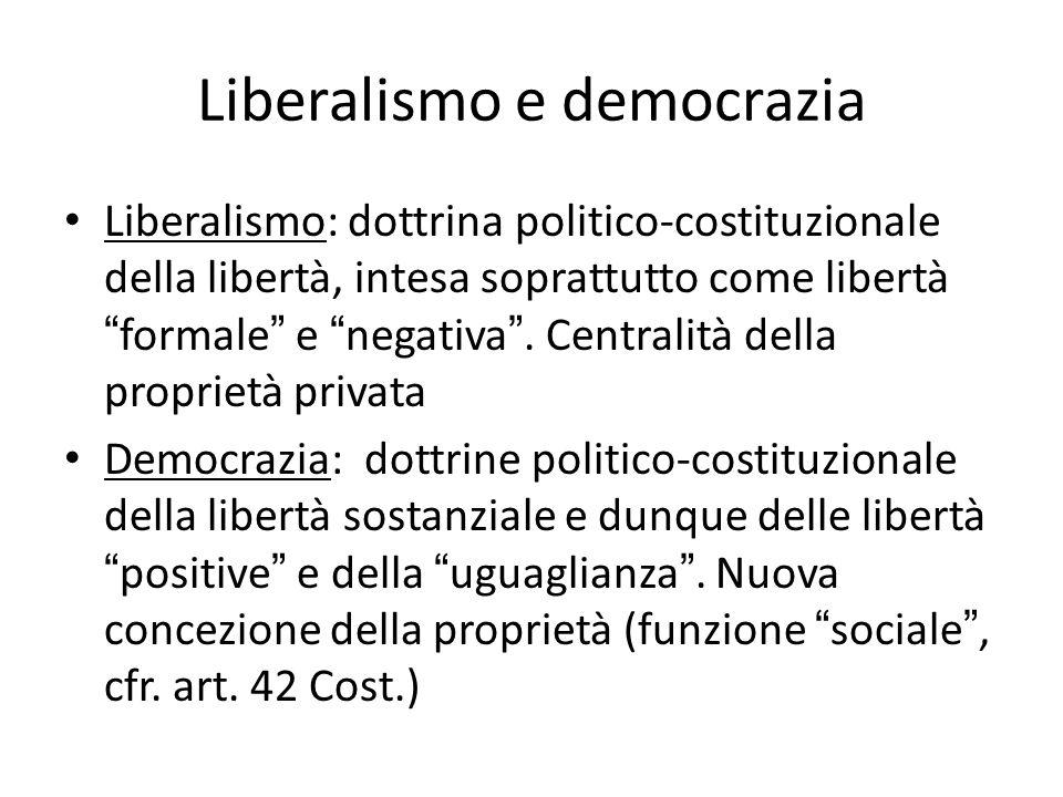 Liberalismo e democrazia Liberalismo: dottrina politico-costituzionale della libertà, intesa soprattutto come libertàformale e negativa. Centralità de