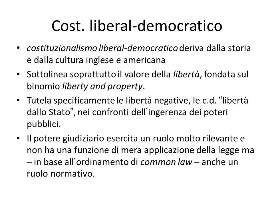 Cost. liberal-democratico costituzionalismo liberal-democratico deriva dalla storia e dalla cultura inglese e americana Sottolinea soprattutto il valo