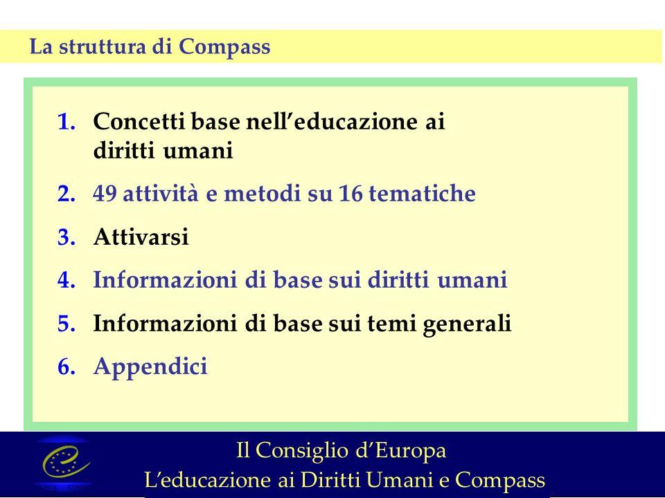 1.Concetti base nelleducazione ai diritti umani 2.49 attività e metodi su 16 tematiche 3.Attivarsi 4.Informazioni di base sui diritti umani 5.Informazioni di base sui temi generali 6.Appendici La struttura di Compass Il Consiglio dEuropa Leducazione ai Diritti Umani e Compass