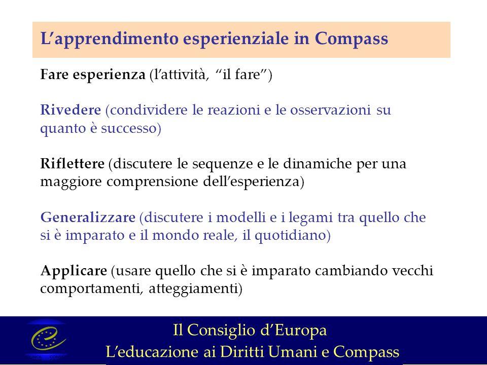 Lapprendimento esperienziale in Compass Fare esperienza (lattività, il fare) Rivedere (condividere le reazioni e le osservazioni su quanto è successo) Riflettere (discutere le sequenze e le dinamiche per una maggiore comprensione dellesperienza) Generalizzare (discutere i modelli e i legami tra quello che si è imparato e il mondo reale, il quotidiano) Applicare (usare quello che si è imparato cambiando vecchi comportamenti, atteggiamenti) Il Consiglio dEuropa Leducazione ai Diritti Umani e Compass