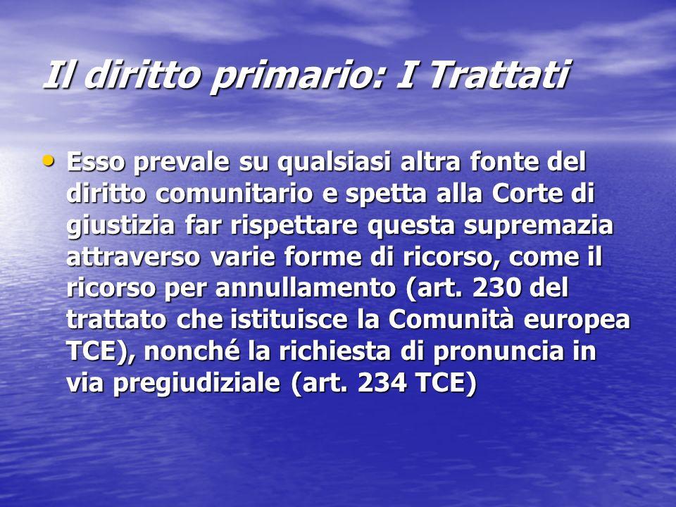Il diritto primario: I Trattati Esso prevale su qualsiasi altra fonte del diritto comunitario e spetta alla Corte di giustizia far rispettare questa s