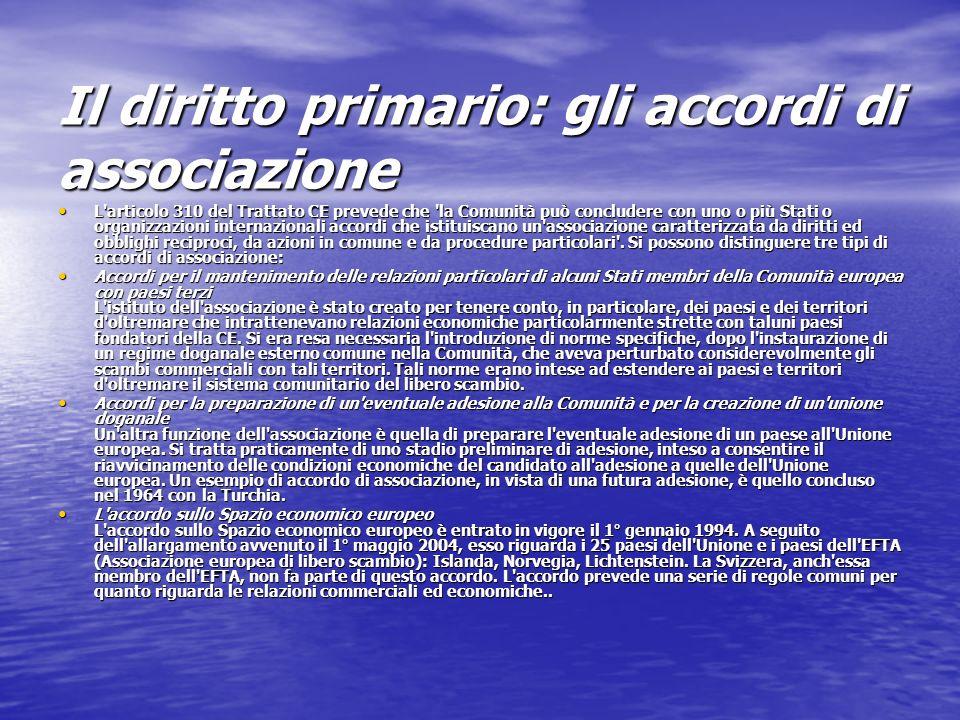 Il diritto primario: gli accordi di associazione L'articolo 310 del Trattato CE prevede che 'la Comunità può concludere con uno o più Stati o organizz