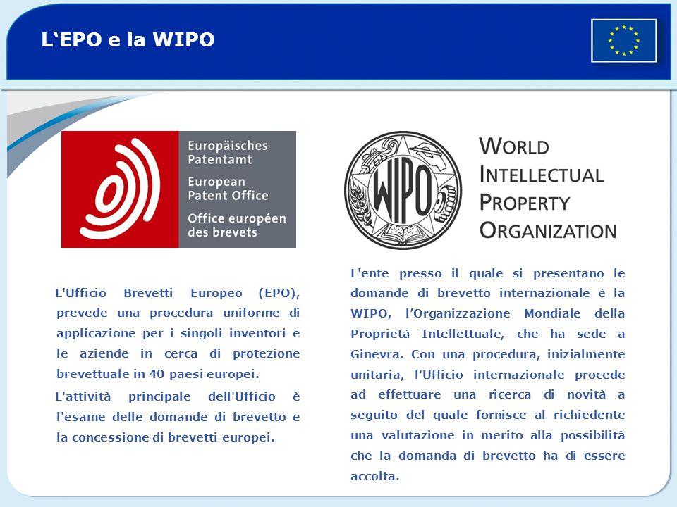 LEPO e la WIPO L Ufficio Brevetti Europeo (EPO), prevede una procedura uniforme di applicazione per i singoli inventori e le aziende in cerca di protezione brevettuale in 40 paesi europei.