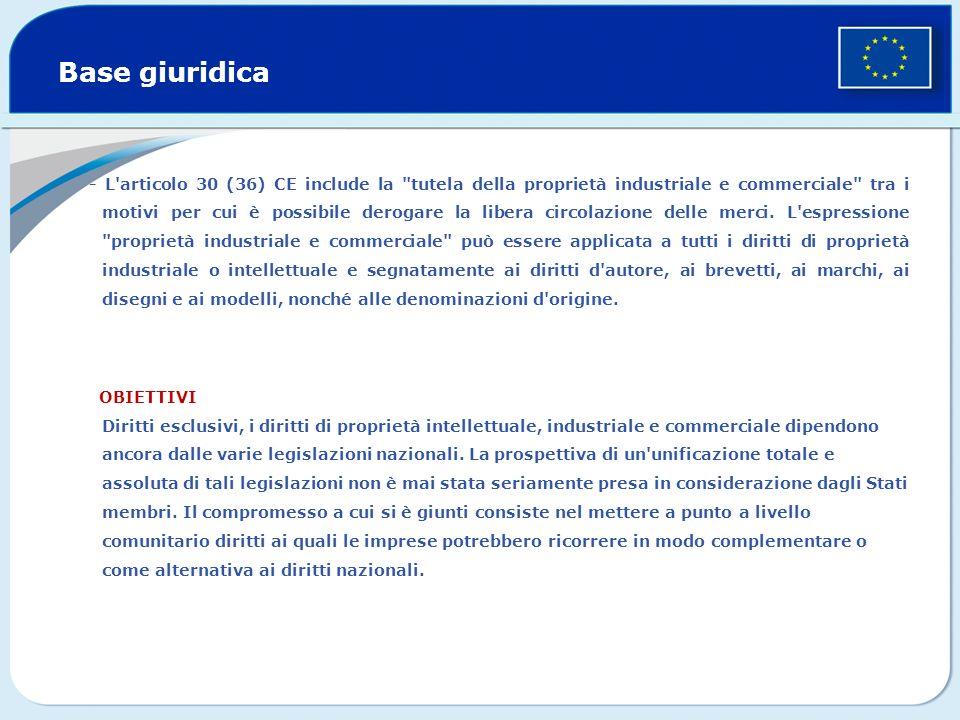Base giuridica - L articolo 30 (36) CE include la tutela della proprietà industriale e commerciale tra i motivi per cui è possibile derogare la libera circolazione delle merci.