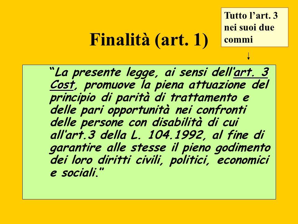 Finalità (art. 1) art. 3 CostLa presente legge, ai sensi dellart. 3 Cost, promuove la piena attuazione del principio di parità di trattamento e delle