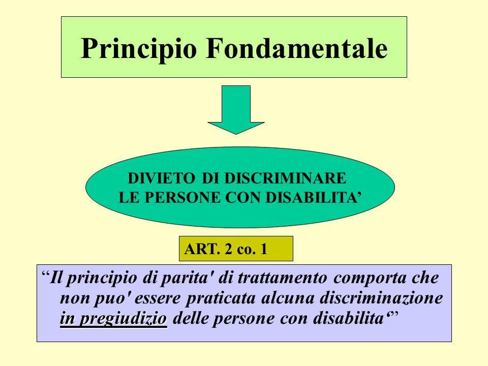 Principio Fondamentale in pregiudizioIl principio di parita' di trattamento comporta che non puo' essere praticata alcuna discriminazione in pregiudiz