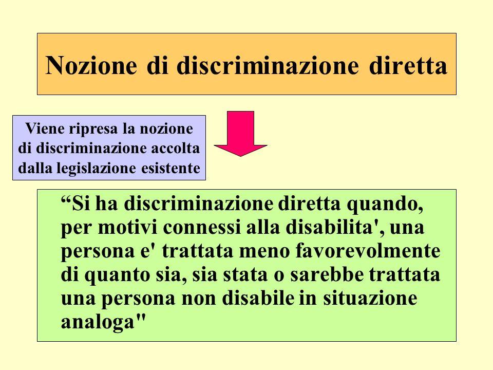 Nozione di discriminazione diretta Si ha discriminazione diretta quando, per motivi connessi alla disabilita', una persona e' trattata meno favorevolm