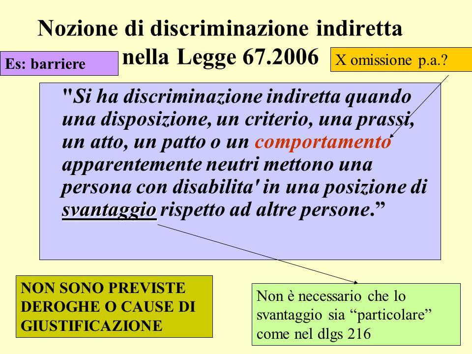 Nozione di discriminazione indiretta nella Legge 67.2006 svantaggio