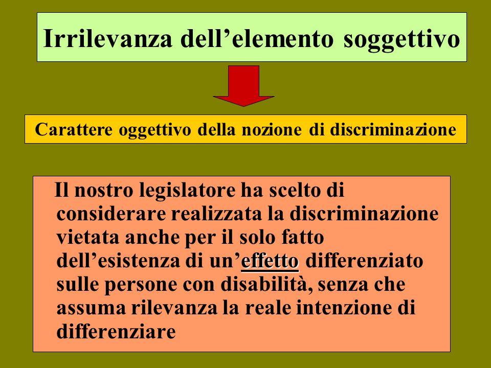 Irrilevanza dellelemento soggettivo effetto Il nostro legislatore ha scelto di considerare realizzata la discriminazione vietata anche per il solo fat