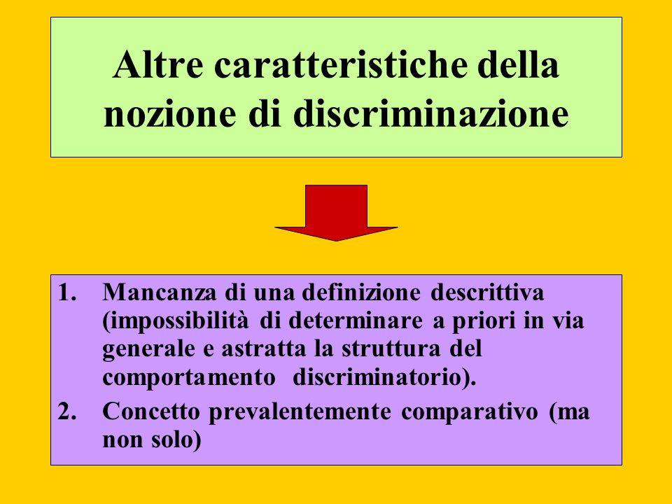 Altre caratteristiche della nozione di discriminazione 1.Mancanza di una definizione descrittiva (impossibilità di determinare a priori in via general