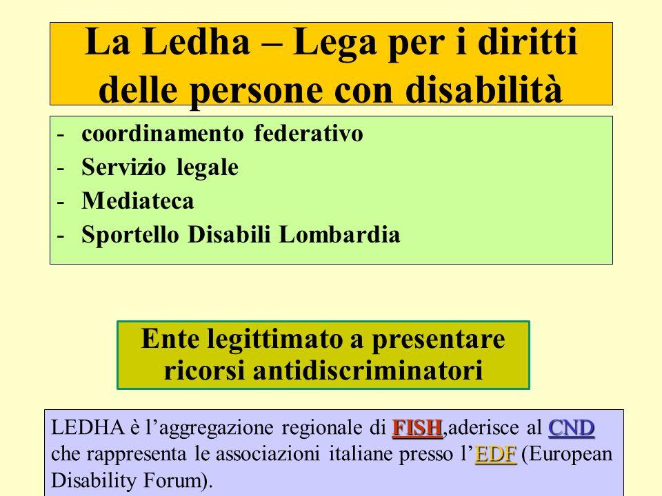 Legittimazione ad agire La stessa pcd discriminata – senza necessità di un Avvocato Le Associazioni autorizzate con decreto del Ministero Pari Opportunità