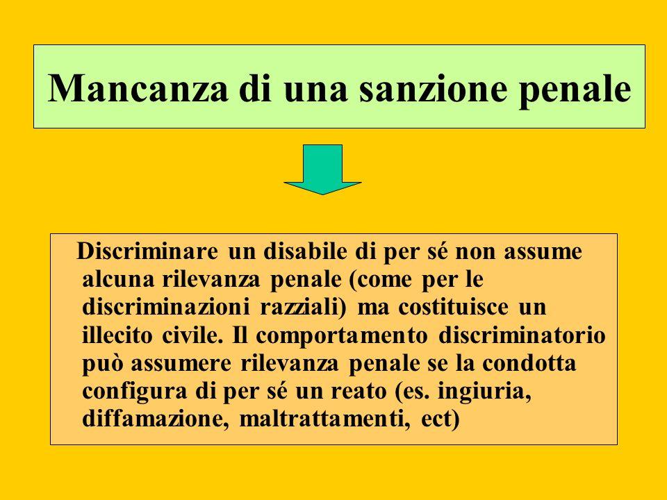 Mancanza di una sanzione penale Discriminare un disabile di per sé non assume alcuna rilevanza penale (come per le discriminazioni razziali) ma costit